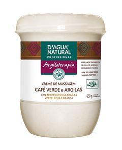 Creme de Massagem D Agua Natural 650 gr Café Verde e Argilas