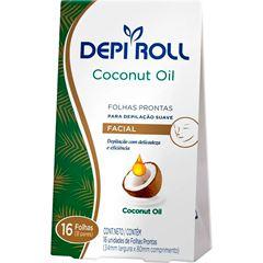 Folhas Depilatórias Facial DepiRoll Coconut Oil   Com 16 Unidades