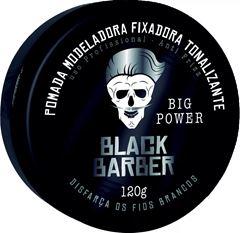 Pomada Modeladora Fixadora Tonalizante Black Barber 120 gr Big Power