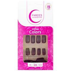 Unhas Postiças Fhaces Colors Dona Avelã   Com 24 Unidades