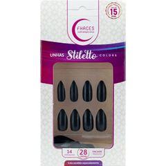 Unhas Postiças Fhaces Stiletto Universo Black   Com 28 Unidades