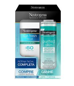 Protetor Solar Facial Neutrogena Sun Fresh FPS 60 Gratis Agua Micelar Purified Skin