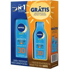 Protetor Solar Nivea Sun 100ml Protect & Bronze FPS30 200ml Grátis