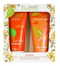 Estojo Seivas da Natureza Loção Hidratante + Sabonete Líquido 180 ml cada Macadâmia
