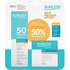 Kit Sunless com Protetor Facial FPS50 60g + Pó Compacto Cor Bege Claro FPS50 10g