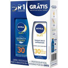 Protetor Solar Nivea Sun Protect & Hidrata FPS30 200ml Grátis Protetor Solar Facial Antissinais FPS30