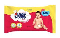 Toalha Umedecidas Baby Poppy com 120 Basic com Aloe Vera
