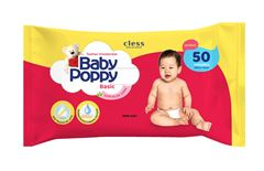 Toalha Umedecidas Baby Poppy com 50 Basic com Aloe Vera