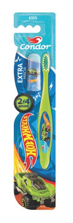 Escova Dental Condor Kids Extra Macia Hot Wheels Cores Sortidas