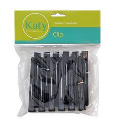 Clips Katy Plástico Com 12 unidades Preto
