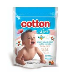 Lencos Umedecidos Cotton Line Baby Care 70 Unidades Refil